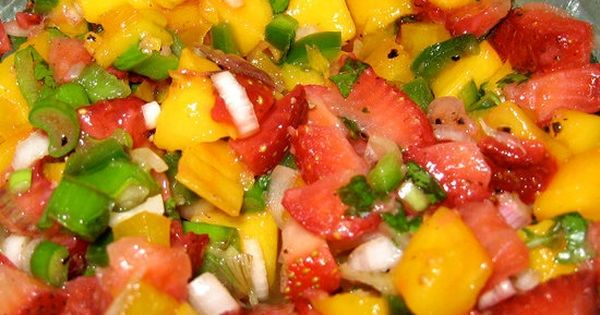 Mango Strawberry Salsa: Chop up some mango, strawberries, onion, tomatoes, and fresh