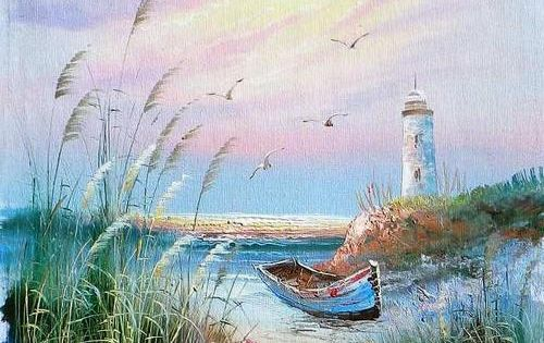 Painted On Canvas Lighthouses Oils Sea With Boat And
