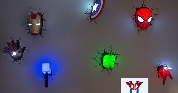 Super cool avengers 3d wall deco night lights for sale for Idee deco 3d