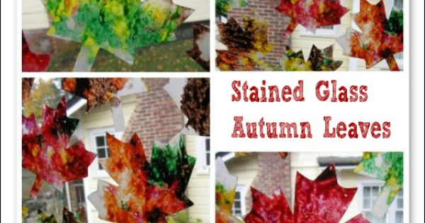 Stained Glass Autumn Leaves and Jack O Lanterns