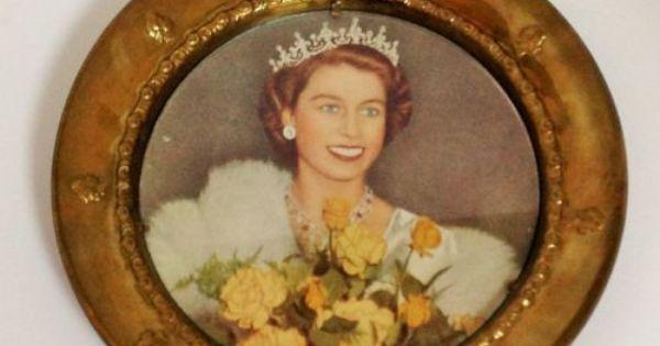 Queen Elizabeth Ii Coronation Photo Brass Dish Plate