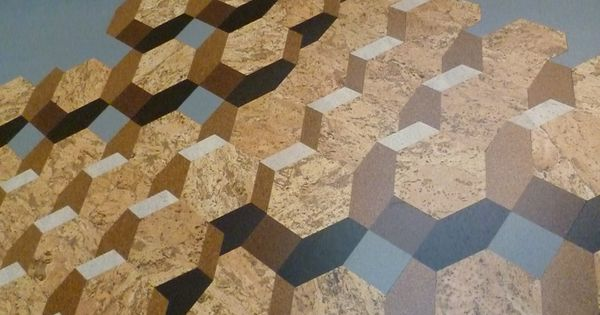 Trompe l 39 oeil geometric pattern cork tiled floor for Unconventional flooring ideas