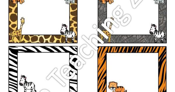 zoo animal jungle safari themed classroom name tags labels