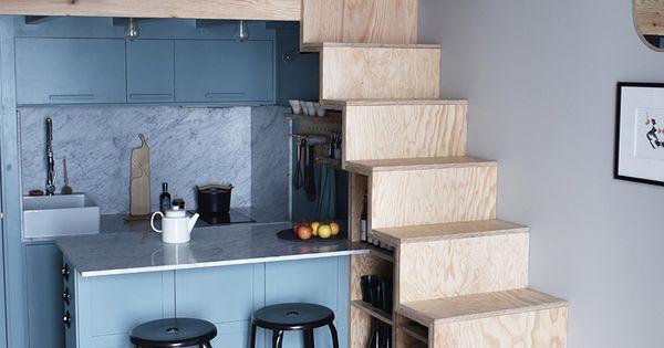 Agencement astucieux petit espace escaliers contreplaqu Agencement petit appartement