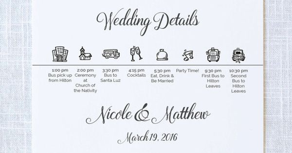 Icon Wedding Weekend Itinerary Welcome Gift Bags
