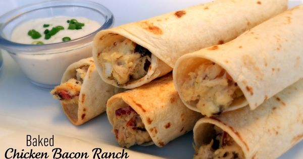 Baked Chicken Bacon Ranch Taquitos. An easy meal your whole family will
