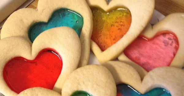 Stain Glass Sugar Heart Cookies Use your favorite sugar cookie recipe. Cut
