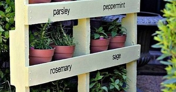 uses for old pallet: herb garden