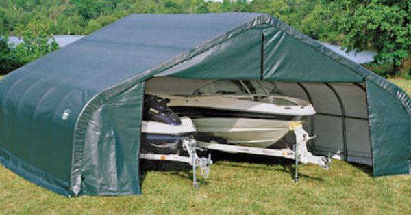 2 Car Garage Shelter : Shelter logic portable car garage peak roof wide