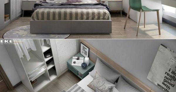 Chambre coucher avec peinture murale gris clair literie for Armoire murale bureau