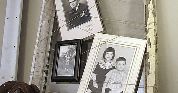 old window frame ( or picture frame) with twine ....fabulous idea ....by