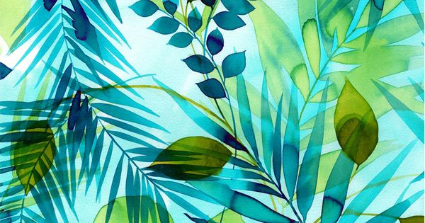 Tropical Fabric Teal Green Leaves Watercolor Rayon