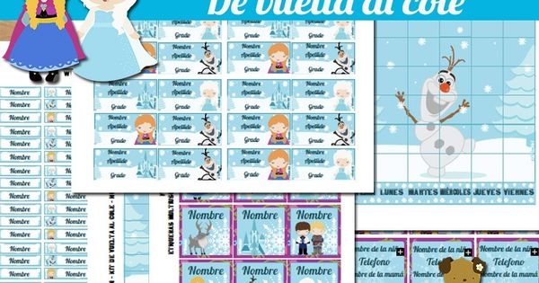 { kit de vuelta al cole} de Frozen (horario escolar ...