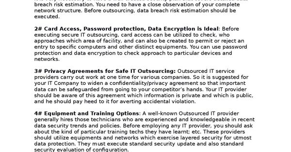 Outsourcing it services - data confidentiality agreement