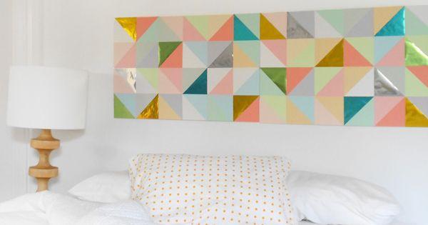 Diy simple et efficace d co tete de lit avec des formes for Deco forme geometrique