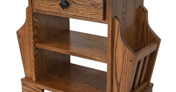 Picture Of Solid Oak Amish Built Magazine Rack End Table