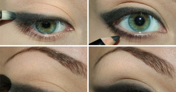 Smokey eye make up using pencil eye liner