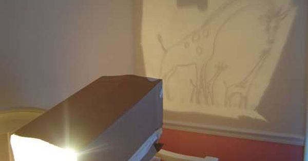 Homemade projector. Must remember for wall murals in kids room!