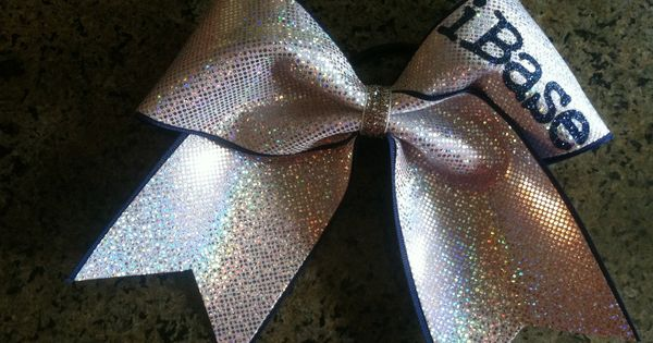 "3"", 3 inch cheer cheerleader bow personalized with iBase, iFly, iCoach, iStunt"