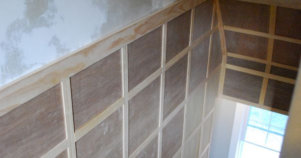 stairway inspiration square board and batten to hide damaged walls board and batten batten. Black Bedroom Furniture Sets. Home Design Ideas