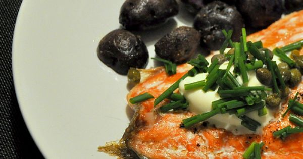 Slow Roasted Salmon with Crème Fraîche and Capers | food glorious ...
