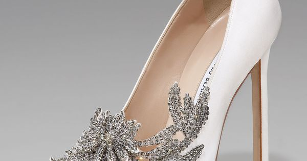 Swan Embellished Satin Pump, White by Manolo Blahnik at Neiman Marcus. These
