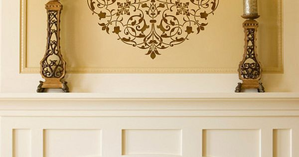 Arabesque Ceiling Medallion Stencil Fireplace Wall