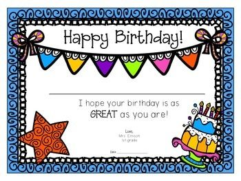 Birthday Certificates Teacher Birthday Card Birthday