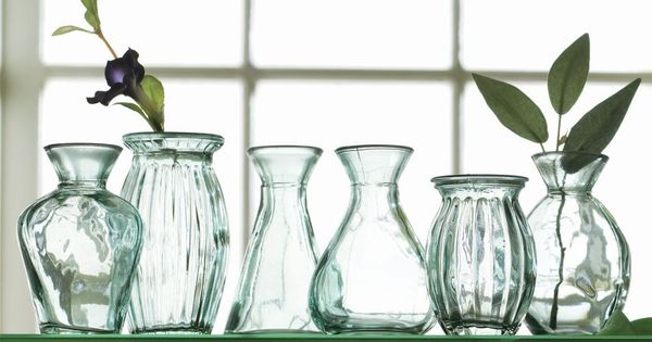 Recycled Green Glass Vases, Set of 6 = Perfect for a ...