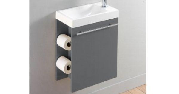 pack complet meuble lave mains avec distributeur de papier toilette gris laqu toilettes. Black Bedroom Furniture Sets. Home Design Ideas