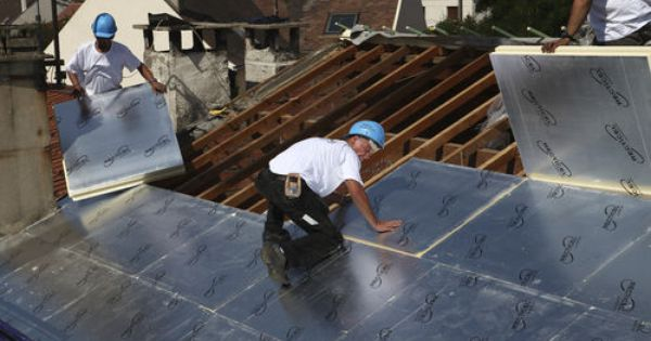How To Install Metal Roofing Over Foam Insulation Ehow Metal Roof Installation Roofing Roof Installation