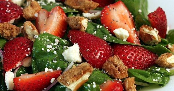 Spinach Strawberry Salad with Candied Pecans, Feta, & Raspberry Poppyseed Dressing 6