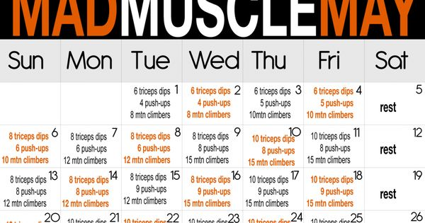 Mad Muscle May Calander, arm workouts, triceps dips, push ups, mountain climbers