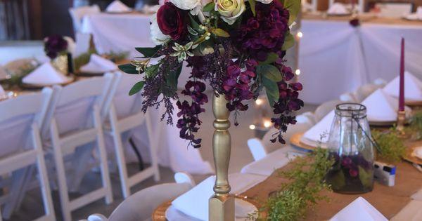 Garden style merlot plum blush pink ivory and gold wedding