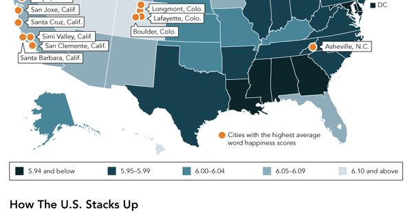 The Happiest States In America In One Map Infographic