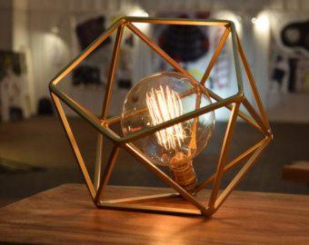 Table Lamp Modern Geometric Edison Bulb Lamp The Mercedes Etsy Geometric Table Lamp Unique Table Lamps Cool Table Lamps
