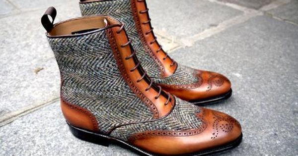 Harris tweed and tan leather brogue ankle-length boots loving these men's shoes!!!!