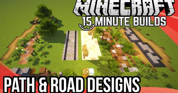 Minecraft 15 Minute Builds Path Road Designs Minecraft Minecraft Blueprints Minecraft Crafts