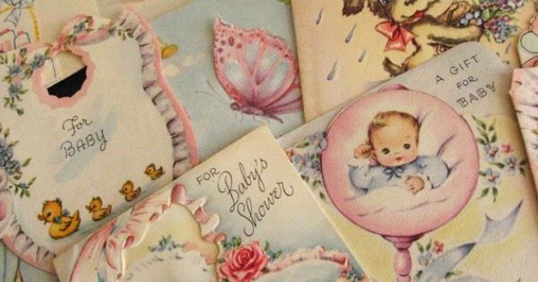 Lot of 1950's Baby Shower Gift Tags by carmenandginger on Etsy