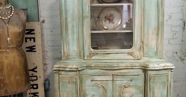 Cabaña pintada, gabinetes de porcelana and shabby on pinterest