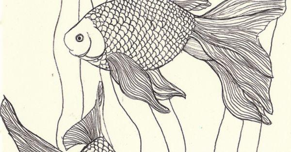 goldfish linework by MagaMerlina, via Flickr