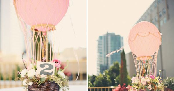 hot air balloon centerpiece...this is so creative >> And so sweet!