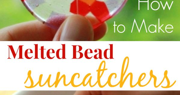 Melted bead suncatchers are easy to make from kids plastic pony beads.