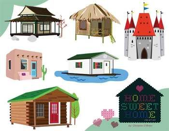 Home Sweet Home Homes Around The World Clip Art Set Clip Art Around The Worlds Art Set