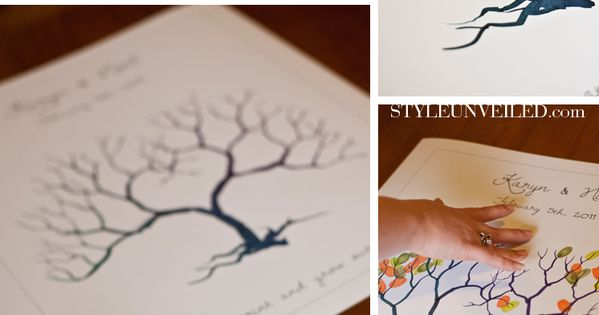 FREE Fingerprint Tree Template. Example is for a wedding fingerprint tree. Can