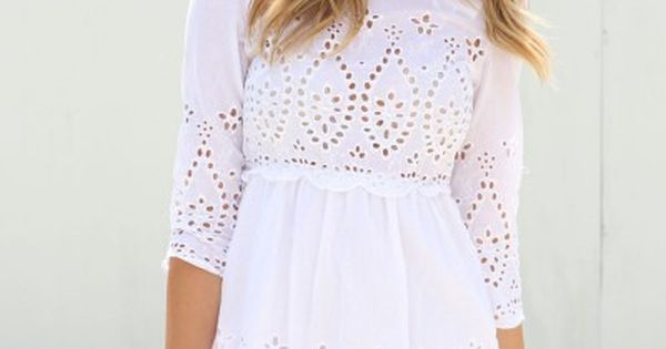 HIGH RISE FASHION: Super cute white lace detail mini dress