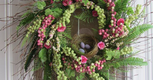 Spring Wreath - Easter Wreath - Front Door Wreath - Bird Nest1125
