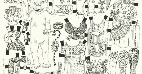 egyptian cat paper doll coloring page coloring pages pinterest paper coloring and animal. Black Bedroom Furniture Sets. Home Design Ideas