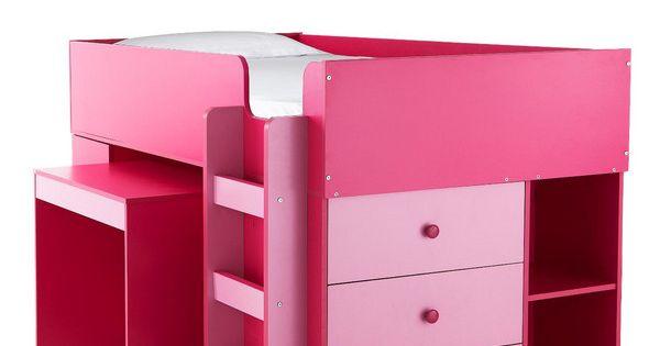 Orlando Mid Sleeper Bed Desk and Storage