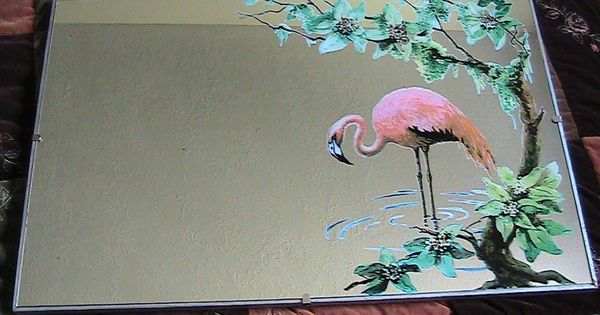 Vintage Mid Century Turner Pink Flamingo Mirror Framed
